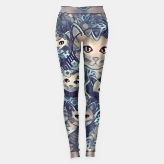 Miniatur Painting Mother Cat with Kitties Blue Sand Leggings, Live Heroes