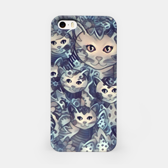Painting Mother Cat with Kitties Blue Sand iPhone-Hülle Bild der Miniatur