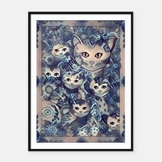 Miniatur Painting Mother Cat with Kitties Blue Sand Plakat mit rahmen, Live Heroes