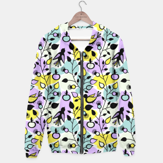 Miniatur Abstract Spring Flowers and Birds Pattern Kapuzenpullover, Live Heroes