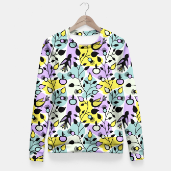 Miniatur Abstract Spring Flowers and Birds Pattern Taillierte Sweatshirt, Live Heroes