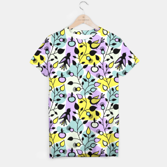 Miniatur Abstract Spring Flowers and Birds Pattern T-Shirt, Live Heroes