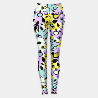 Miniatur Abstract Spring Flowers and Birds Pattern Leggings, Live Heroes