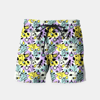 Miniatur Abstract Spring Flowers and Birds Pattern Badeshorts, Live Heroes