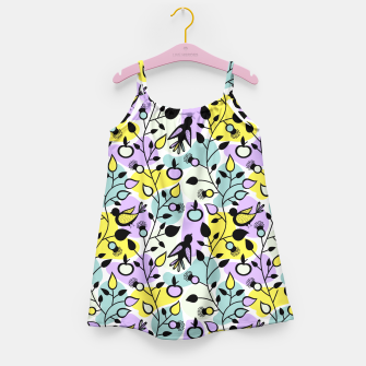 Miniatur Abstract Spring Flowers and Birds Pattern Mädchenkleid, Live Heroes