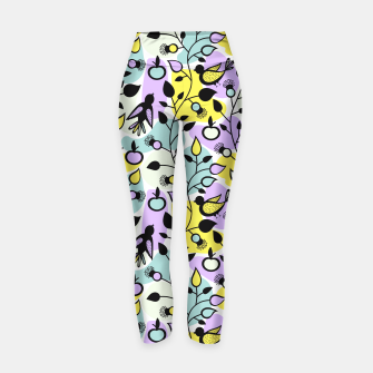 Miniatur Abstract Spring Flowers and Birds Pattern Yogahose, Live Heroes