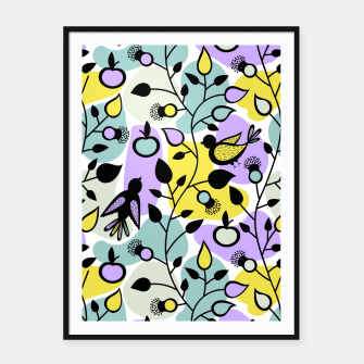 Miniatur Abstract Spring Flowers and Birds Pattern Plakat mit rahmen, Live Heroes