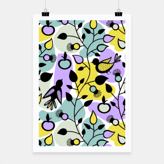Miniatur Abstract Spring Flowers and Birds Pattern Plakat, Live Heroes