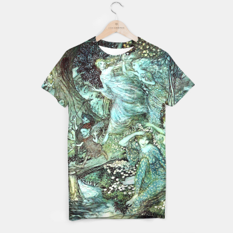 Vintage Rackham Painting - World Of Fairies T-Shirt Bild der Miniatur