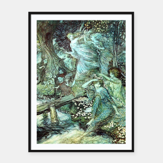 Miniatur Vintage Rackham Painting - World Of Fairies Plakat mit rahmen, Live Heroes