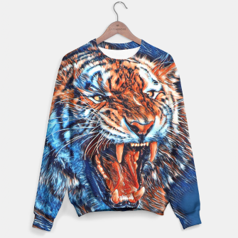 Miniatur Attacking Tiger Painting Blue Orange Sweatshirt, Live Heroes