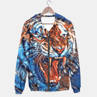 Miniatur Attacking Tiger Painting Blue Orange Kapuzenpullover, Live Heroes
