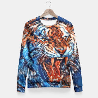 Miniatur Attacking Tiger Painting Blue Orange Taillierte Sweatshirt, Live Heroes