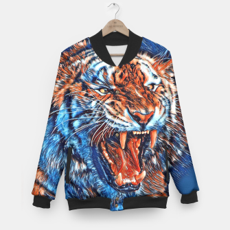 Miniatur Attacking Tiger Painting Blue Orange College-Jacke, Live Heroes