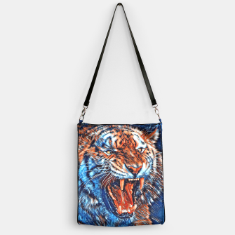Miniatur Attacking Tiger Painting Blue Orange Handtasche, Live Heroes