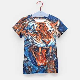 Miniatur Attacking Tiger Painting Blue Orange T-Shirt für Kinder, Live Heroes