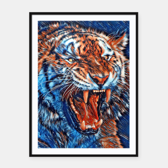 Miniatur Attacking Tiger Painting Blue Orange Plakat mit rahmen, Live Heroes