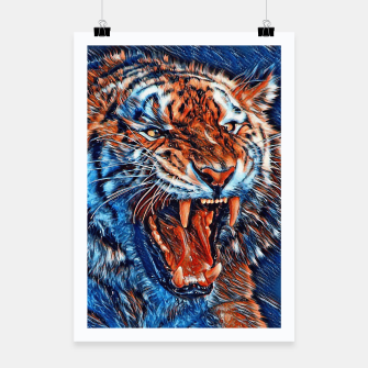 Miniatur Attacking Tiger Painting Blue Orange Plakat, Live Heroes