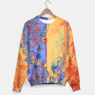 Miniatur Art Deco Grunge Flowers Wallpaper Orange Blue Sweatshirt, Live Heroes