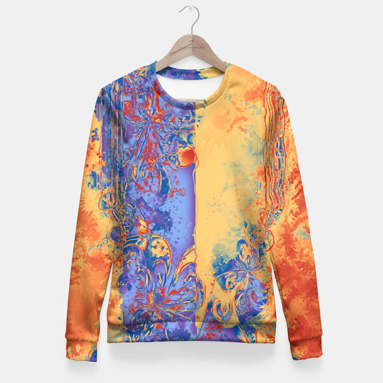 Foto Art Deco Grunge Flowers Wallpaper Orange Blue Taillierte Sweatshirt - Live Heroes