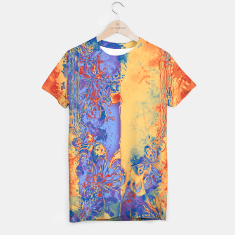 Miniatur Art Deco Grunge Flowers Wallpaper Orange Blue T-Shirt, Live Heroes