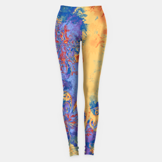 Miniatur Art Deco Grunge Flowers Wallpaper Orange Blue Leggings, Live Heroes