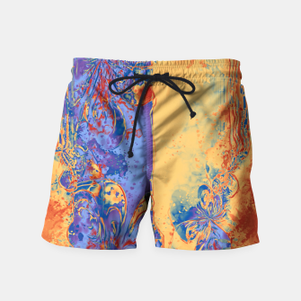 Miniatur Art Deco Grunge Flowers Wallpaper Orange Blue Badeshorts, Live Heroes