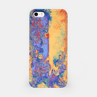 Miniatur Art Deco Grunge Flowers Wallpaper Orange Blue iPhone-Hülle, Live Heroes