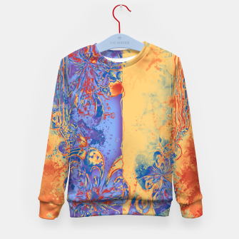 Miniatur Art Deco Grunge Flowers Wallpaper Orange Blue Kindersweatshirt, Live Heroes
