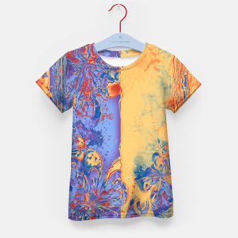 Miniatur Art Deco Grunge Flowers Wallpaper Orange Blue T-Shirt für Kinder, Live Heroes