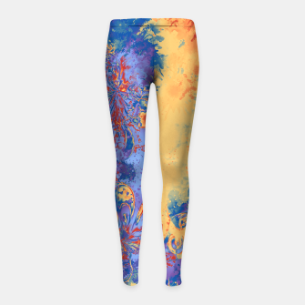 Miniatur Art Deco Grunge Flowers Wallpaper Orange Blue Kinder-Leggins, Live Heroes