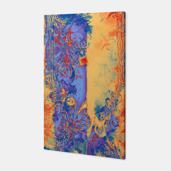 Art Deco Grunge Flowers Wallpaper Orange Blue Canvas Bild der Miniatur