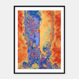 Miniatur Art Deco Grunge Flowers Wallpaper Orange Blue Plakat mit rahmen, Live Heroes
