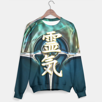 Awesome REIKI Symbol White Gold on Fractal Sweatshirt Bild der Miniatur