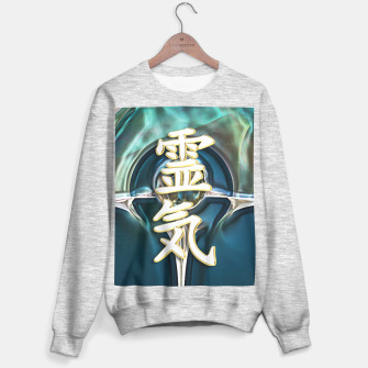 Awesome REIKI Symbol White Gold on Fractal Sweatshirt regulär Bild der Miniatur