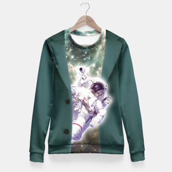 Astronaut looks out of a jacket Taillierte Sweatshirt Bild der Miniatur
