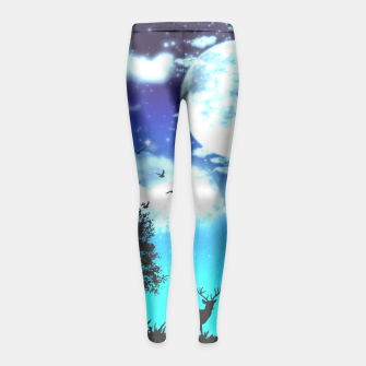 Miniaturka Dreamy night into the forest Girl's Leggings, Live Heroes