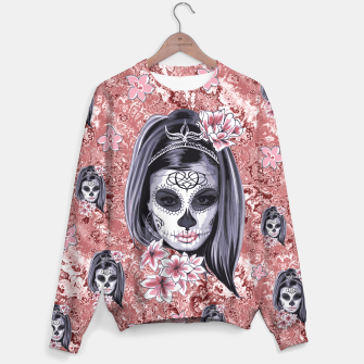 Miniatur Skull Of A Pretty Flowers Lady Pattern Sweatshirt, Live Heroes