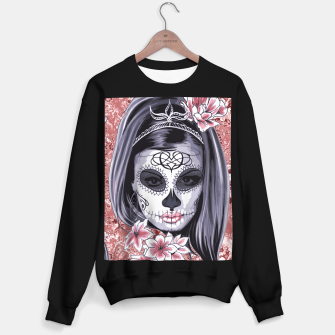 Miniatur Skull Of A Pretty Flowers Lady Pattern Sweatshirt regulär, Live Heroes