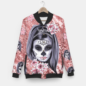 Miniatur Skull Of A Pretty Flowers Lady Pattern College-Jacke, Live Heroes