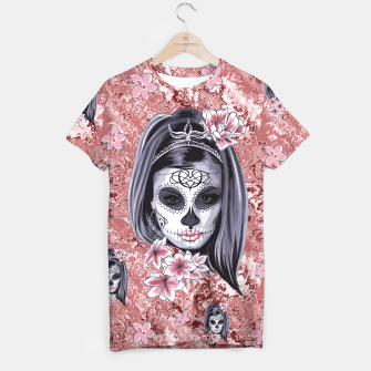 Miniatur Skull Of A Pretty Flowers Lady Pattern T-Shirt, Live Heroes