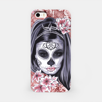 Miniatur Skull Of A Pretty Flowers Lady Pattern iPhone-Hülle, Live Heroes