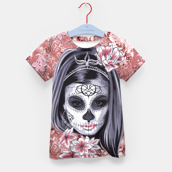 Miniatur Skull Of A Pretty Flowers Lady Pattern T-Shirt für Kinder, Live Heroes