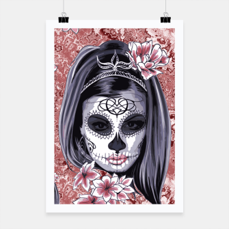 Miniatur Skull Of A Pretty Flowers Lady Pattern Plakat, Live Heroes