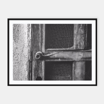 Thumbnail image of old vintage wooden door in black and white Framed poster, Live Heroes
