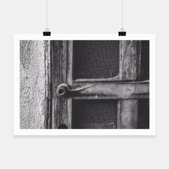 Thumbnail image of old vintage wooden door in black and white Poster, Live Heroes