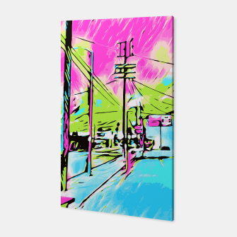 Thumbnail image of city in pink blue green digital drawing background Canvas, Live Heroes