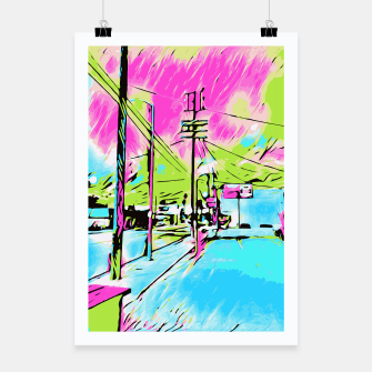 Thumbnail image of city in pink blue green digital drawing background Poster, Live Heroes