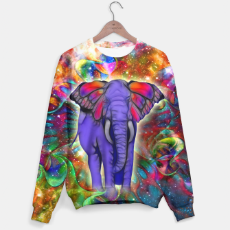 Abstract ELEPHANT with Butterfly Ears Colorful Galaxy Sweatshirt Bild der Miniatur