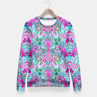 Thumbnail image of Vintage floral turquoise pattern Fitted Waist Sweater, Live Heroes